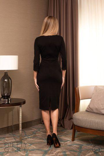 Rochie neagră midi cu detalii din eco-piele