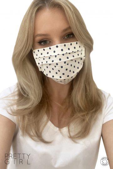 Mască facială refolosibilă cu buline din bumbac