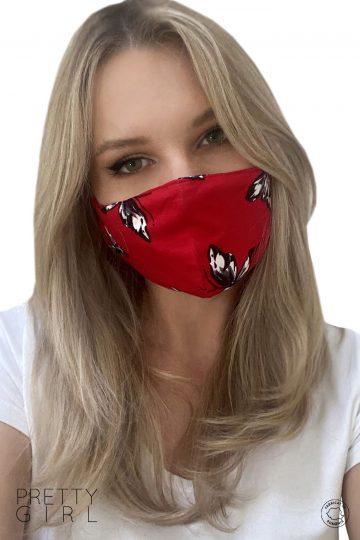 Mască textilă roșie reutilizabilă