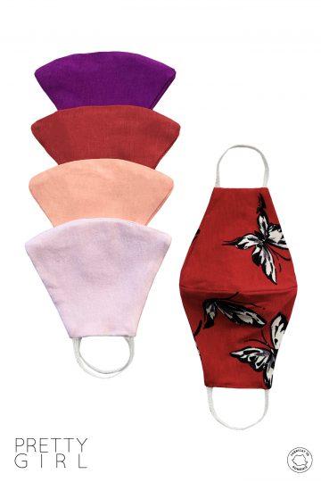 Set 5 măști textile reutilizabile colorate pentru copii