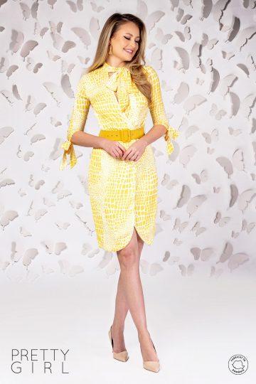 Rochie petrecută cu imprimeu galben și curea în talie