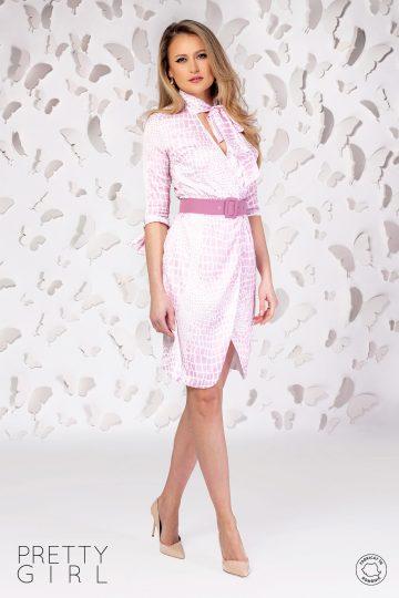 Rochie petrecută cu imprimeu roz și curea în talie