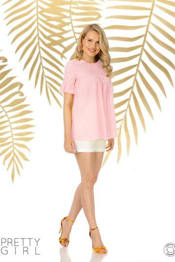 Bluză rose din bumbac cu platcă