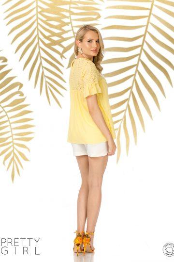Bluză galbenă din bumbac cu platcă