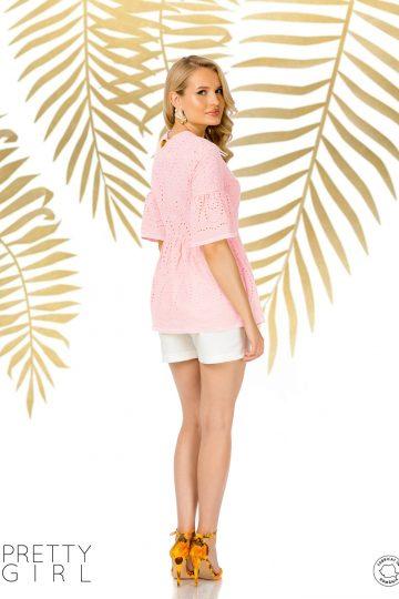 Bluză rose din bumbac cu broderie englezească