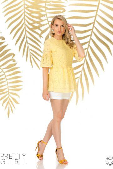 Bluză galbenă din bumbac cu broderie englezească
