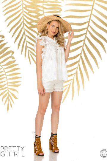 Bluză albă cu broderie perforată și volane