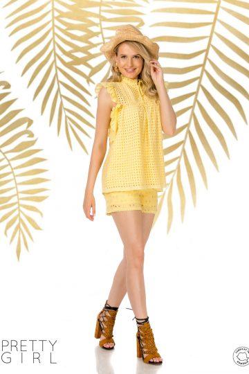 Bluză galbenă cu broderie perforată și volane