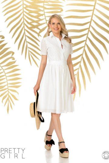 Rochie albă cu guler și broderie englezească