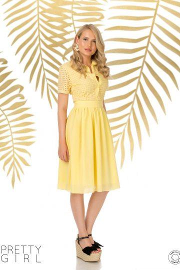 Rochie galbenă cu guler și broderie englezească