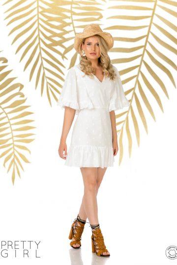 Rochie scurta de vară cu volănașe din bumbac alb